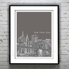 New York City Skyline Art Print Poster NYC Manhattan NY