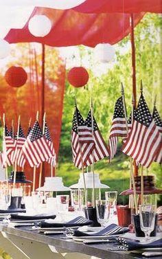 love the Flag centerpieces