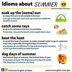 Summer Idioms by American English at State English Fun, American English, English Study, English Words, English Lessons, Learn English, Better English, Oxford English, English Course