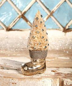 Platinum Santa Boot With Bottle Brush Tree