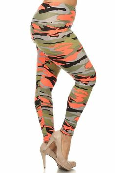 a8202640fb567 New Women s Plus Size Army Camouflage Print Legging Full Stretch OS