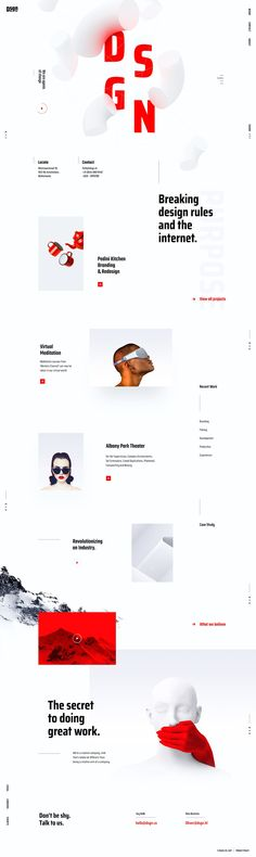 Website page concept for creative digital agency