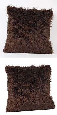 "Ikevan Hot Selling Soft Warm Cashmere Plush Pillowcase Fashion Throw Pillow Cover Cafe Home Decor Cushion Pillow Case (18"" x 18"") (Coffee)"