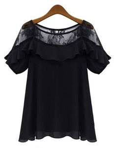 Fashionable Scoop Collar Lace Splicing Slimming Short Sleeve Women's Blouse | PLUS SIZE