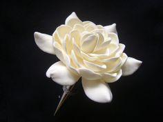 Ivory Gardenia Wedding Boutonniere. Groomsmen flower. by parsi