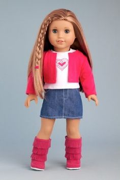 DreamWorld Collections Fuchsia Heart - 4 piece outfit includes fuchsia jacket, t-shirt, denim skirt and boots - American Girl Doll Clothes : Casual Doll Outfits