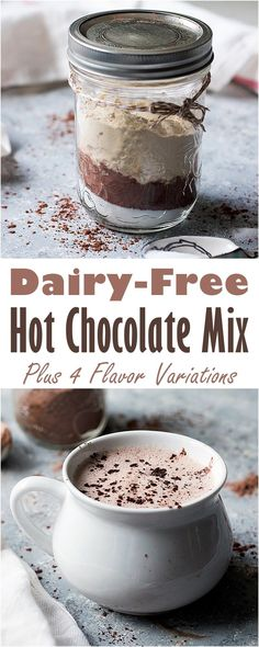 Dairy-Free Hot Cocoa Mix with Flavor Options Dairy-Free Hot Cocoa Mix Recipe with quick Vanilla Sugar plus Spice, Mocha, and Mint Variations! Lactose Free Diet, Lactose Free Recipes, Gluten Free, Dairy Free Hot Chocolate, Hot Chocolate Recipes, Sugar Free Hot Cocoa Mix Recipe, Diabetic Hot Cocoa Recipe, Mocha Mix Recipe, Chocolate Chocolate