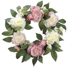 Peony and Lilac Wreath with soft pink and cream colors, this garden wreath is crafted with fresh looking blooms of peony and lilac for a charming display on any wall or door. The faux blooms are woven around a sturdy bamboo wreath.