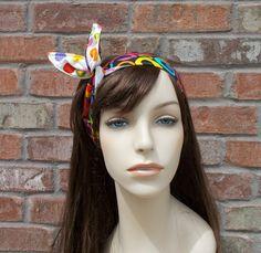 Wire Headband for Teens Colorful Circles on Black and White Reversible Headband Tween Headband Cotton Fabric Headband Women's Head Bands by foreverandrea on Etsy
