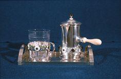 Gustav Gaudernack/DA. Tea set for Queen Maud of Norway. Silver enamel and amethysts. Gift to Queen Maud of Norway. Royal Castle.