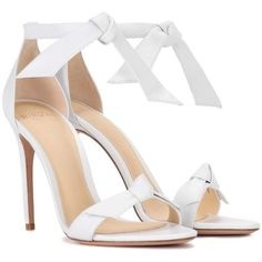 Alexandre Birman Clarita Leather Sandals ($505) ❤ liked on Polyvore featuring shoes, sandals, heels, white, white heeled sandals, alexandre birman, alexandre birman sandals, leather footwear and white heel shoes