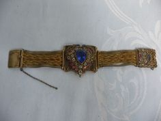 VINTAGE (1930's-40's) HOBE FILIGREE HEART BRACELET - GOLD WASH ON SILVER