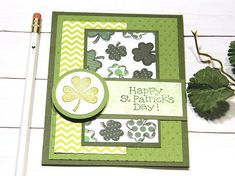 A whimsical St. Patricks day card featuring an assortment of green shamrocks. Its a great way to express your friendship on this special day of Irish celebration. St Patricks Day Cards, Happy St Patricks Day, Saint Patricks, Irish Celebration, Card Sentiments, Irish Blessing, Stampin Up Cards, Cricut Cards, Card Sketches