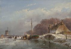 Artwork by Andreas Schelfhout, A winter landscape with a koek-en-zopie, Circa 1860 Made of oil on panel
