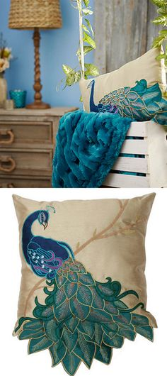 I have no idea why I like this, I just do! Peacock Bedroom, Peacock Pillow, Peacock Decor, Peacock Design, Turquoise Sofa, Peacock Jewelry, Peafowl, Inspired Homes, Home Decor Accessories