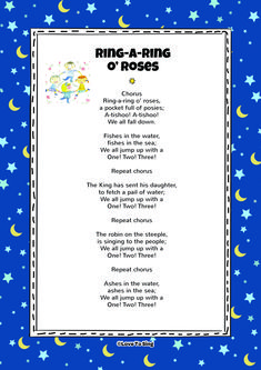 Nursery Rhyme Ring a Ring o' Roses. Kids will love this fun sing along rhyme! Free lyrics and music on our website - Kids education and learning acts Nursery Songs Lyrics, Nursery Poem, Nursery Rhymes Songs, Song Lyrics, Baby Lyrics, Kids Video Songs, Songs For Toddlers, Children Songs, Kindergarten Songs