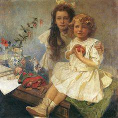 Alphonse Mucha - Jaroslava and Jiri - The Artist's Children. 1919
