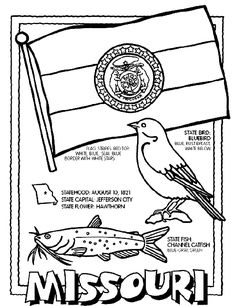 1. Color Missouri's flag with a red stripe on top, white in the middle and blue on the bottom. The seal in the center has a blue border and white stars.    2. Color the Channel Catfish blue-gray and green.    3. Color the Bluebird blue, with a rust breast fading to white.