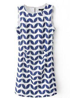Blue White Zigzag Print Dress #printdress #blueandwhite
