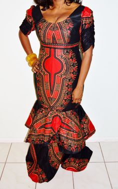 Best Selling Red Dashiki Print African Formal Dress, Holiday Party Formal Dress, Red party Dress- Valentine Day Dress-Gifts For Her
