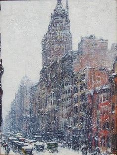Childe Hassam: Heckscher Tower  http://annabregmanportraits.co.uk/new-york-winter-paintings/