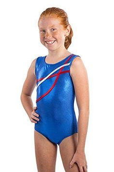 This tank gymnastics leotard has red and silver ribbons gliding over the front…