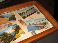 Updated an old tray with some cool vintage postcards