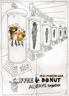 "Touching Morning Treat Ads: The Dunkin' Donut Coffee Shop Campaign is Adventurously Sketched ""Coffee & Donut Always Together."" (by JWT, Barcelona, Spain)"
