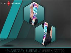 Planetary sleeve tattoo at Sims 4 Krampus via Sims 4 Updates