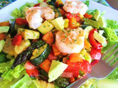 CPK Roasted Vegetable Salad with Avacado  Shrimp