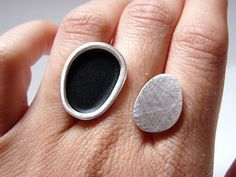 Sterling silver ring with matte black enamel from by TassJoies from Spain