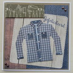 Denim Button Up, Button Up Shirts, Marianne Design, Men's Wardrobe, Masculine Cards, Birthday Cards, Shirt Dress, Mens Tops, Clothes