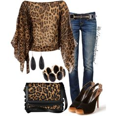 A fashion look from March 2013 featuring Te Amo blouses, True Religion jeans and Luxury Rebel pumps. Browse and shop related looks. Cheetah Print Shirts, Leopard Print Outfits, Animal Print Outfits, Leopard Fashion, Animal Print Fashion, Fashion Prints, Animal Prints, Classy Outfits, Chic Outfits
