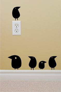 Funky Birds set of 5 fat funky bird wall decals. $12.00, via Etsy.
