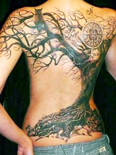 Hidden Hand Tattoo is a Seattle tattoo shop offering custom tattoos by some of Washington State's best tattoo artists. Back Tattoos, Future Tattoos, Body Art Tattoos, New Tattoos, Tatoos, Tree Tattoo Back, Tattoos Of Trees, Family Tree Tattoos, Dead Tree Tattoo