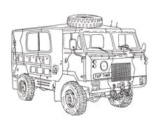 Land Rover 101 Forward Control Ink Drawing