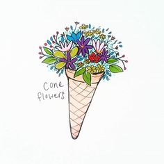 Beautiful 'coneflowers' design by @emm99493 using their Chameleon Pens! #chameleonpens #pen #marker #alcoholmarkers #markerpen #colour #color #colouring #coloring #flower #floral #icecream #cone #create