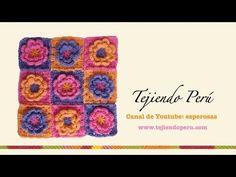 Motivo cuadrado a crochet con flor en relieve - YouTube Crochet Flower Squares, Crochet Granny, Diy Crochet, Crochet Flowers, Granny Videos, Granny Square Tutorial, Crochet Videos, Crochet Patterns, Embroidery