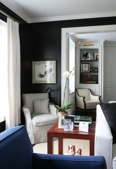 LDa Architects - bedrooms - black, walls, molding, white, black, ticking, fabric, slipcovered, chair, glossy, red, lacquer, Parsons, table, blue, chair, white, drapes, orchid,