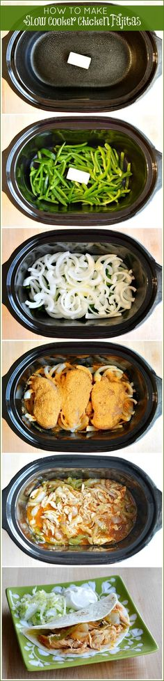 Slow Cooker Chicken Fajitas dinner this week! If only my children would eat it too! Chicken Fajita Rezept, Chicken Fajitas, Chicken Recipes, Recipe Chicken, Butter Chicken, Baked Chicken, Crockpot Dishes, Crock Pot Cooking, Cooking Recipes