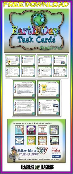 FREE! Earth Day Task Cards - This set has 12 task cards. Most cards have a written assessment that is aligned with the creative task.