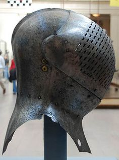 Sir Giles Plate Armour helmet. Sir Giles was part of Henry VIII retinue at the Field of The Cloth of Gold in 1520