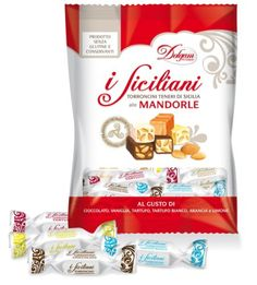 Authentic I Siciliani Soft Almond Nougat bite size Individually wrapped Assorted Mix of 3 Bags, total 600g. (21oz.) made in Sicily.NO PRESERVATIVES & GLUTEN FREE