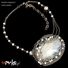 Materials: moonstone, pearls, fine and sterling silver.
