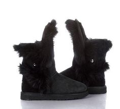 UGG FOX FUR SHORT 5531 BOOTS BLACK