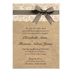Weiße Spitze-und Leinwand-Hochzeits-Einladung