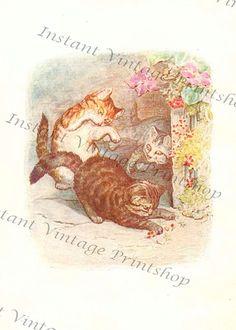 TOM KITTEN - Instant 5x7 Digital Download 1907 Beatrix Potter Art Print Beatrice Potter, Peter Rabbit And Friends, Three Little, Little Kittens, Antique Books, Toms, Art Prints, Digital, Antiques