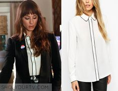 PRETTY LITTLE LIARS: SEASON 6 EPISODE 20 SPENCER'S Contrast Piping Blouse