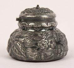 ANTIQUE ART NOUVEAU OLD QUADRUPLE SILVERPLATE INKWELL REPOUSSE FLOWER MIDDLETOWN