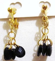 1 1/2 Gold Plated Clip Black Beaded Dangle Clipon by ADKOR on Etsy, $4.75